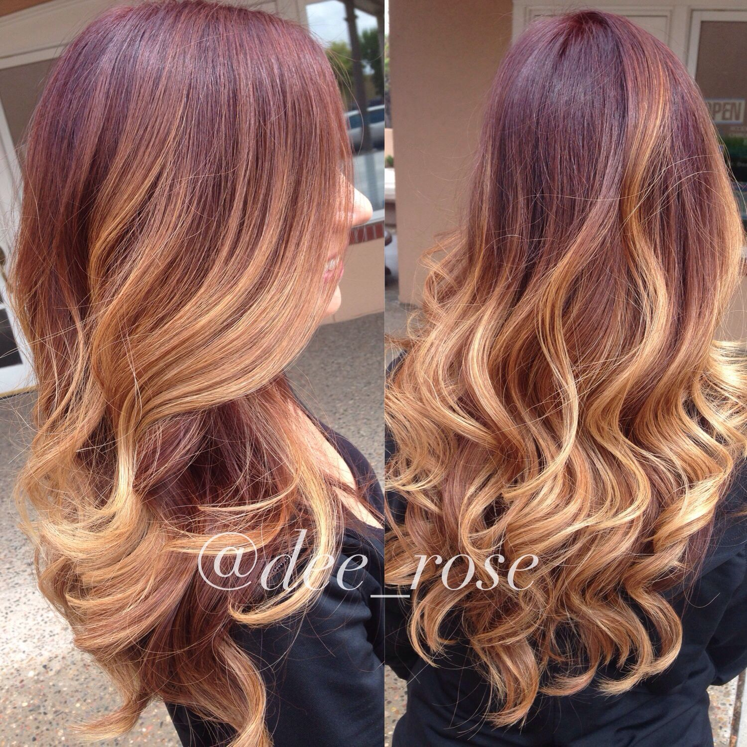 Fall Inspired Color Melt Red Ombre Red Violet Undertone Melted To A Honey Blonde Blonde Hair Color Color Melting Hair Ombre Hair Blonde