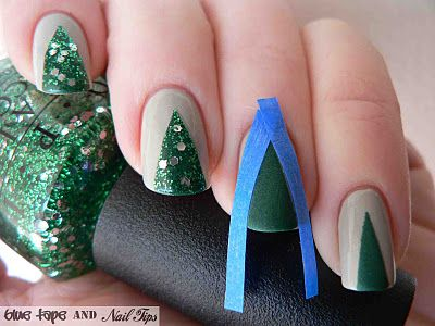 Blue Tape And Nail Tips Easy Christmas Trees Christmas Tree Nails Tree Nails Holiday Manicures