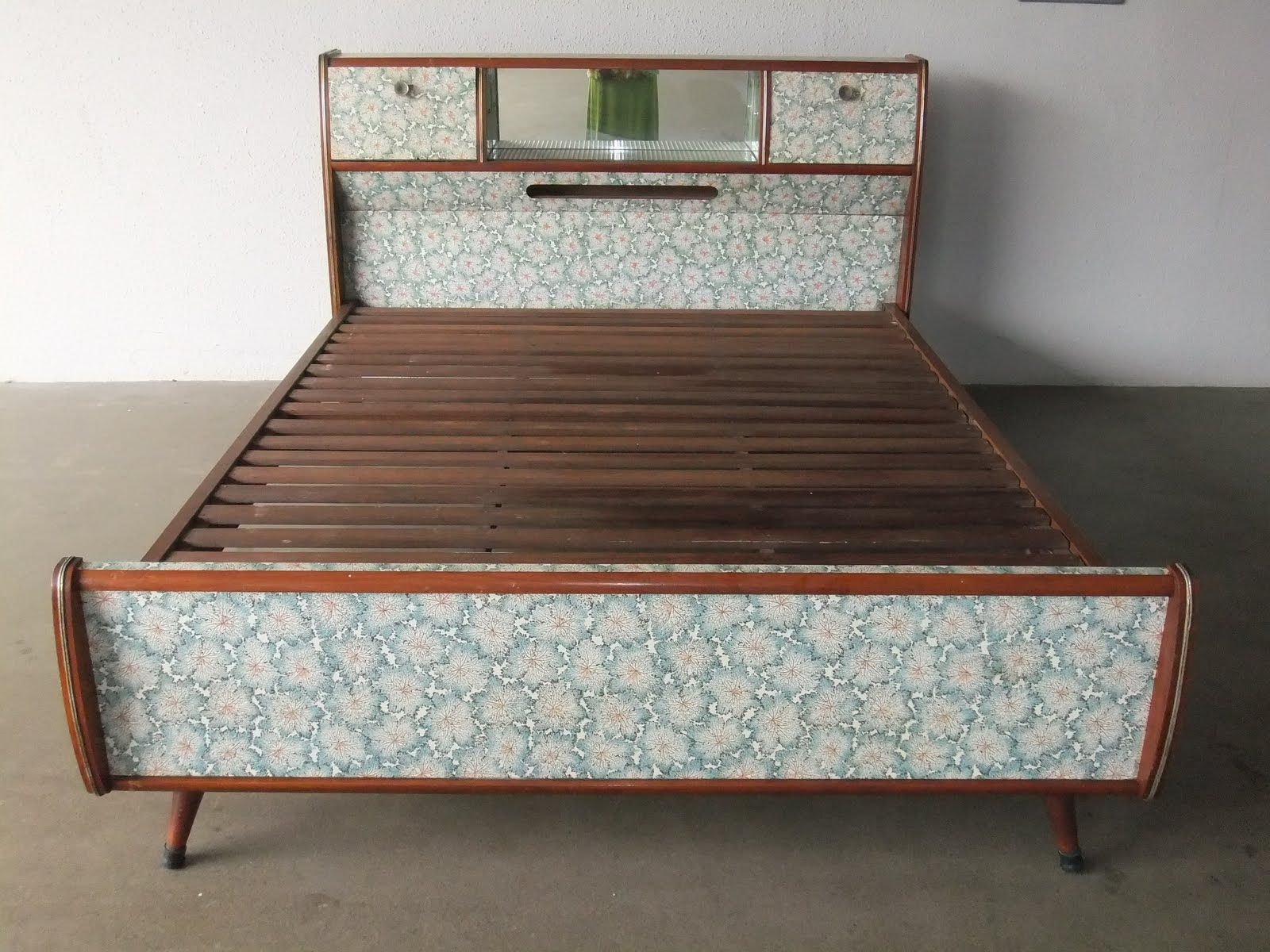 A Rare Formica Bed With Useful Compartments On The Headboard