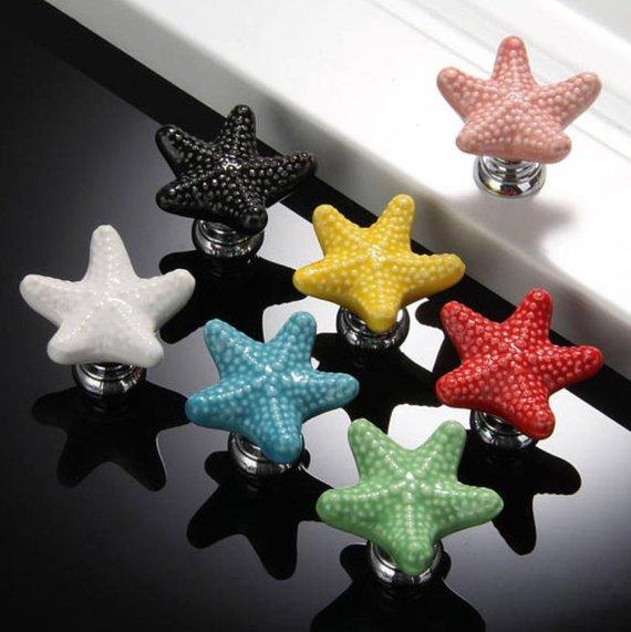 1x Starfish Ceramic Door Knob Kid/'s Room Decor Pull Knobs For Cupboard Cabinet