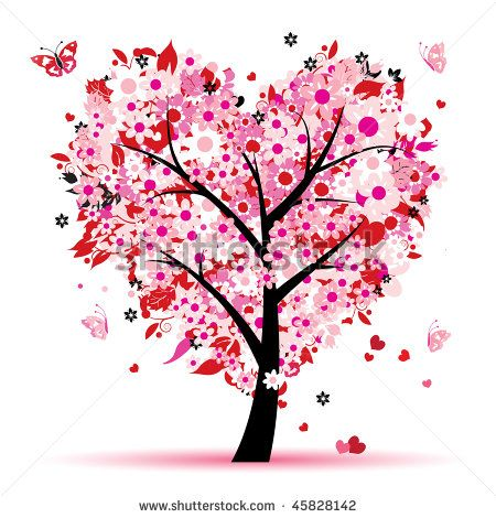 Tree of Love | Valentine tree, love, leaf from hearts - stock vector