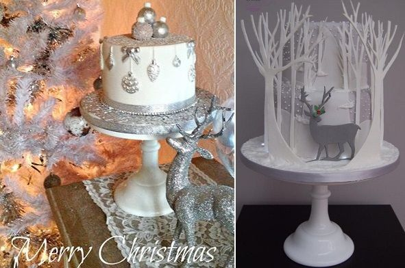Beautiful Christmas Cakes | christmas cakes silver by Pearls & Lace Cakes left, Deb Williams Cakes ...