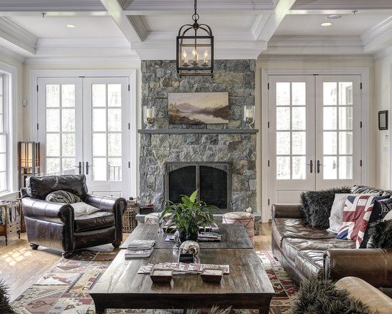 Doors Next To Fireplace Traditional Family Rooms Living Room Furniture Layout Family Room Design