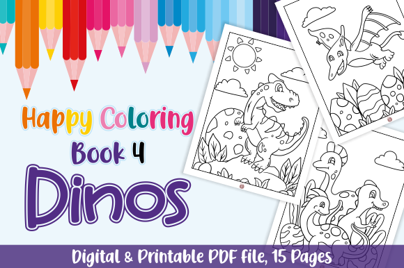 Happy Coloring Book 4 Dinos Graphic By Momentos Crafter Creative Fabrica Coloring Books Printable Coloring Book Dinosaur Coloring Pages