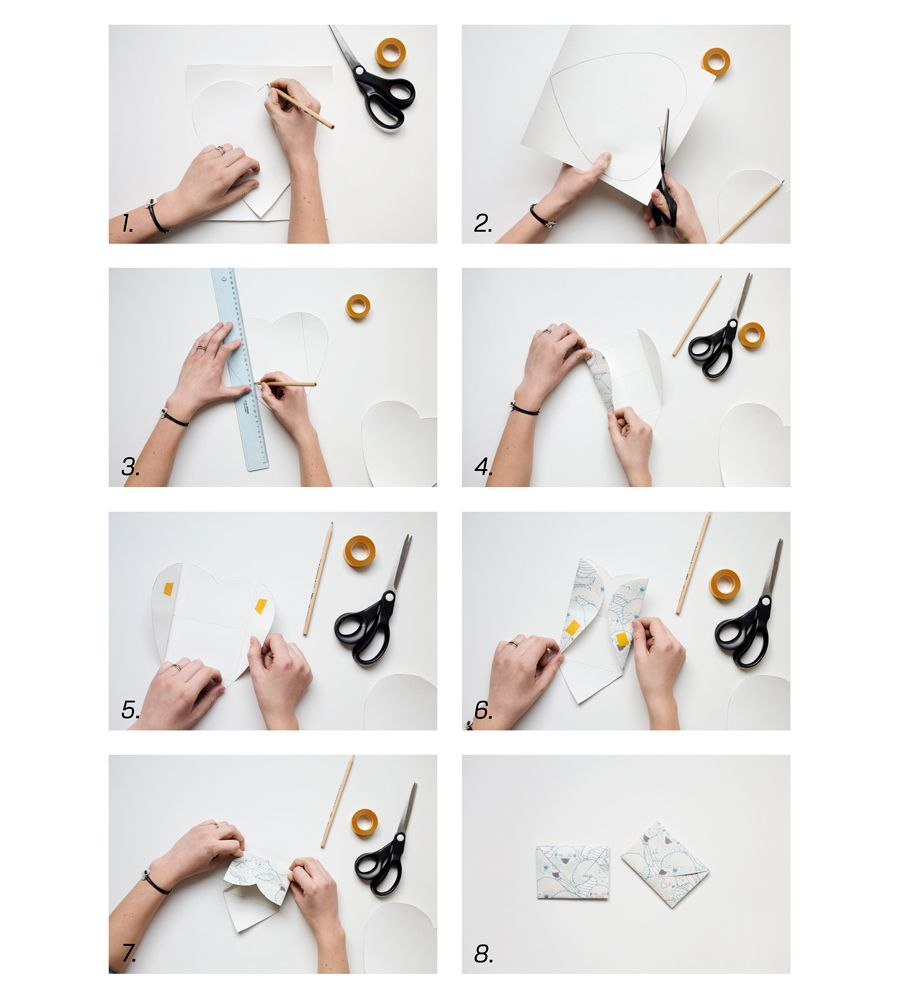 A step by step guide to see how to create an envelope with a heart shaped wallpaper cutout.  #photowallsweden #diy #wallpaper #tapet