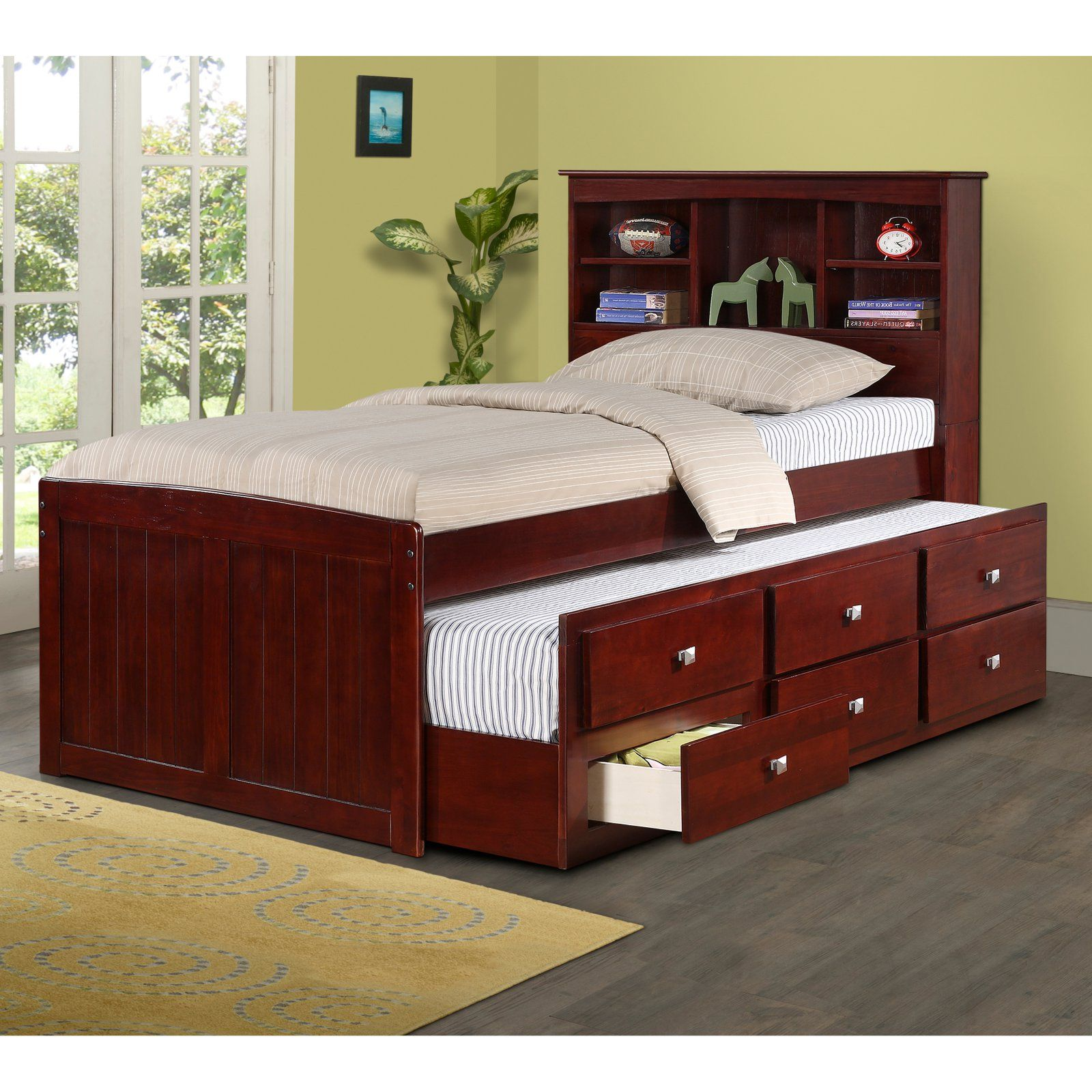 Donco Bookcase Captains Bed Size Twin Captains Bed Bed With