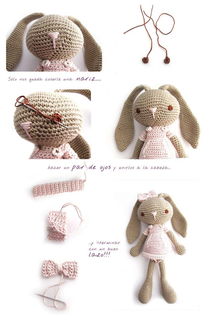 Peluche de crochet conejita de orejas largas - Amigurumi | Conejo ...