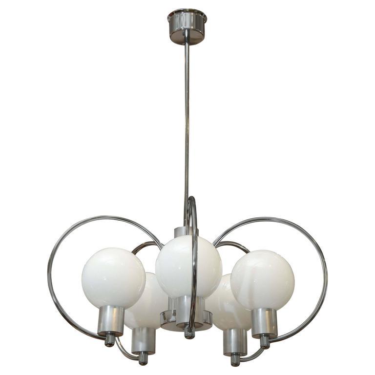 Mid century modern chrome five light scrolled chandelier with mid century modern chrome five light scrolled chandelier with glass globes mid century modern globe and chrome aloadofball Image collections