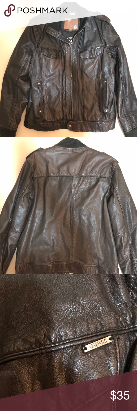 Guess Leather Jacket Leather Jacket Brown Leather Bomber Jacket Jackets [ 1740 x 580 Pixel ]