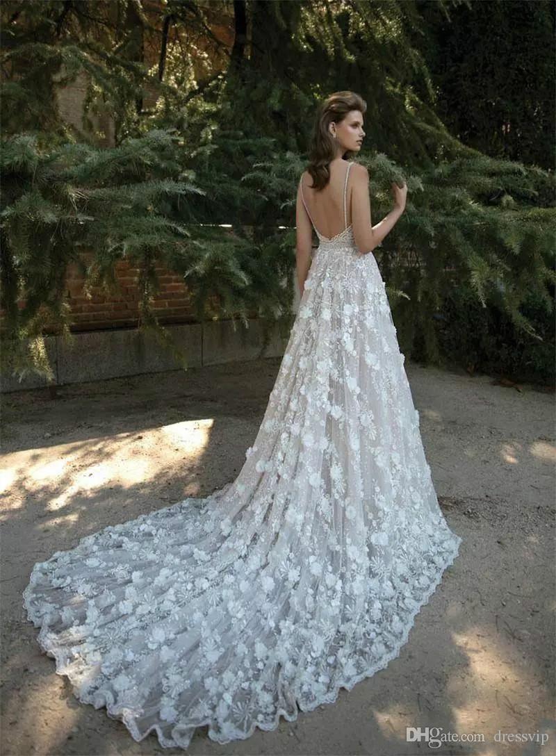 Design your own wedding dress near me  Cheap  Boho Beach Wedding Dresses A Line Spaghetti Sleeveless