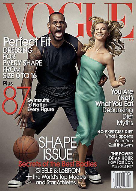 4ddea06c4878 Vogue cover with LeBron James and Gisele Bundchen stirring ...