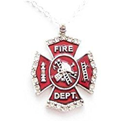 Firefighter red maltese cross necklace fire fighters gift small firefighter red maltese cross necklace fire fighters gift small crystal rhinestones outline the edges of red aloadofball Gallery