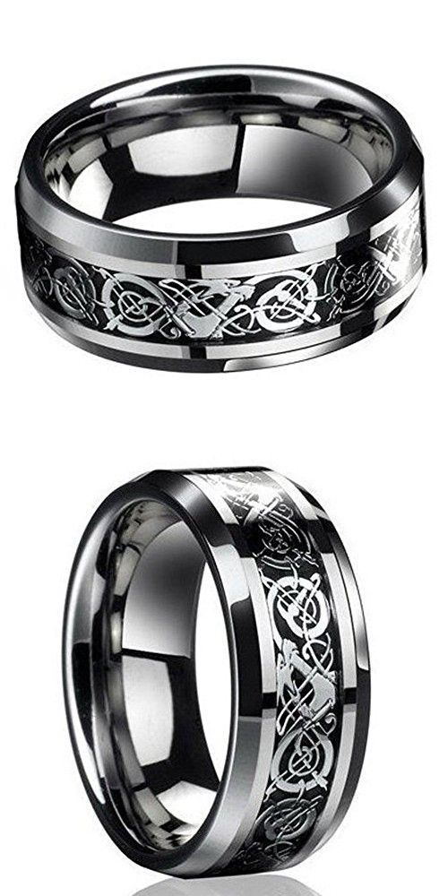 New Silver Celtic Dragon Titanium Stainless Steel Mens Wedding Band