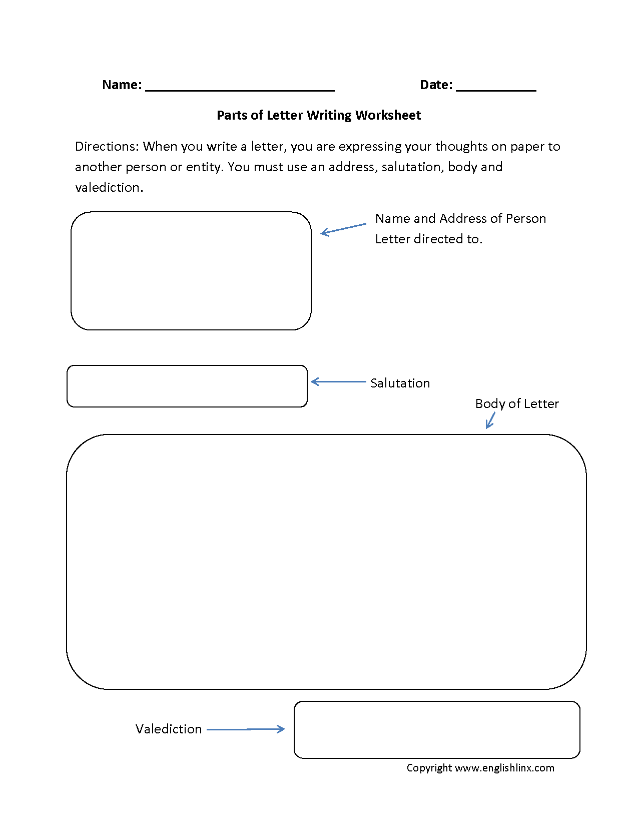 Parts Of Letter Writing Worksheets