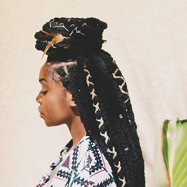 Creative Box Braid Styles Yarn Braids Styles Box Braids Styling Hair Styles