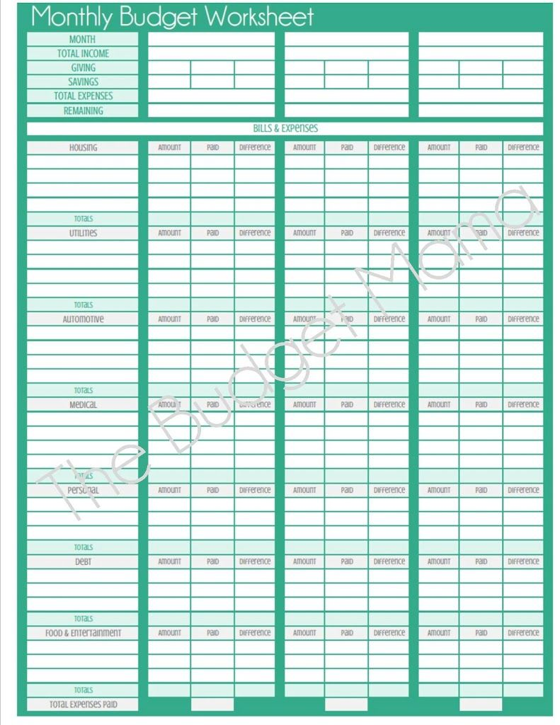 Updated} Monthly Budget Printable | Monthly budget worksheet ...