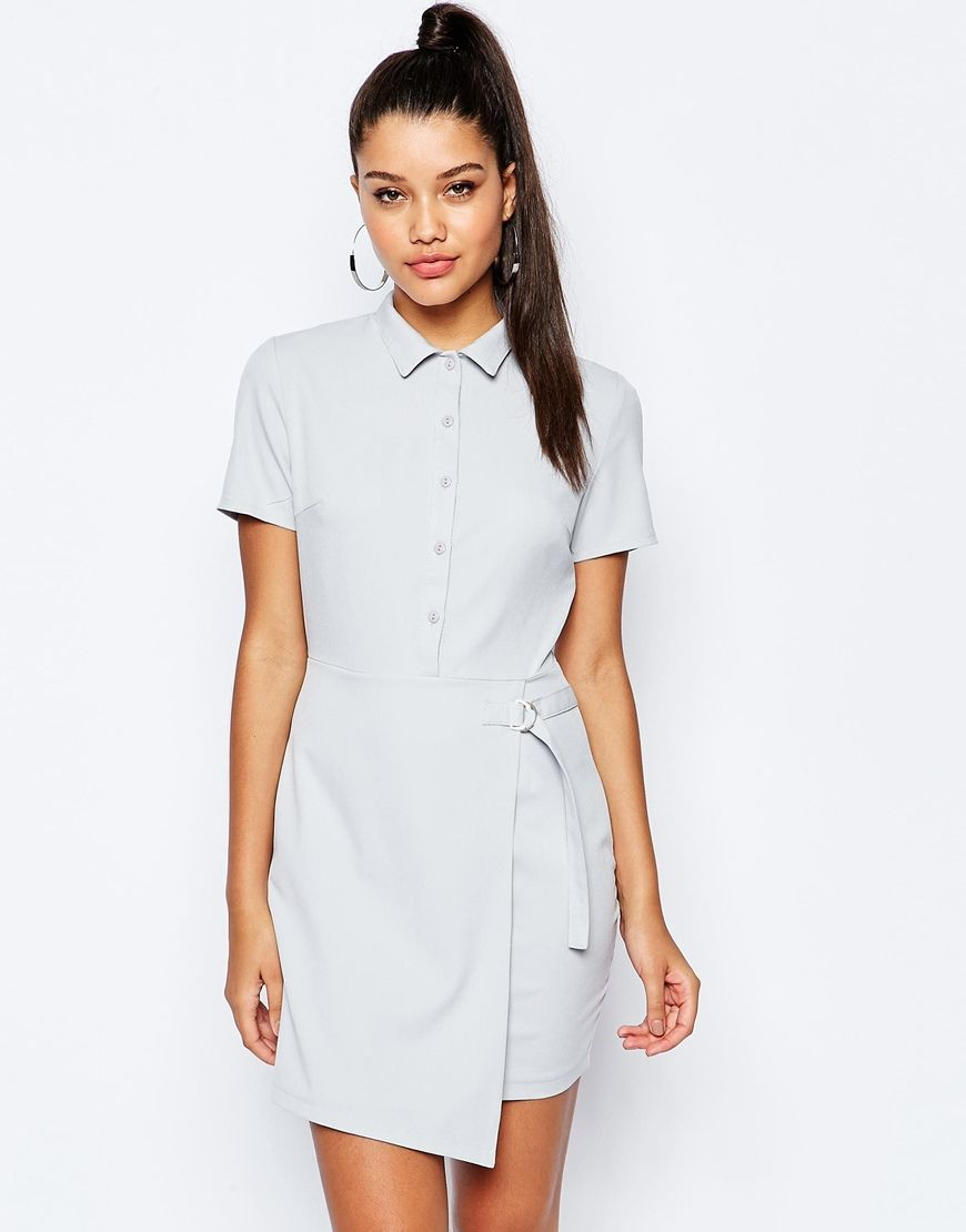 ff44ee1e1b Image 1 of Missguided Short Sleeve D-Ring Wrap Shirt Dress