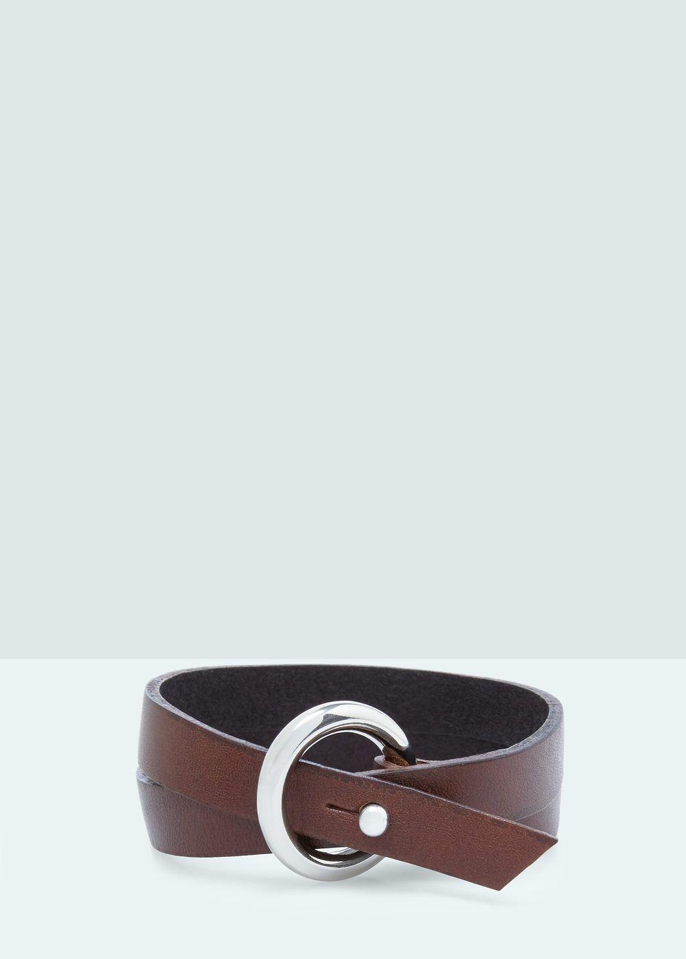 Leather double bracelet | MANGO MAN