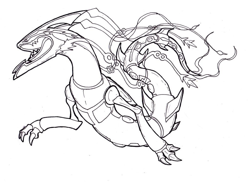 space roar mega rayquaza fanart lineart w i p by