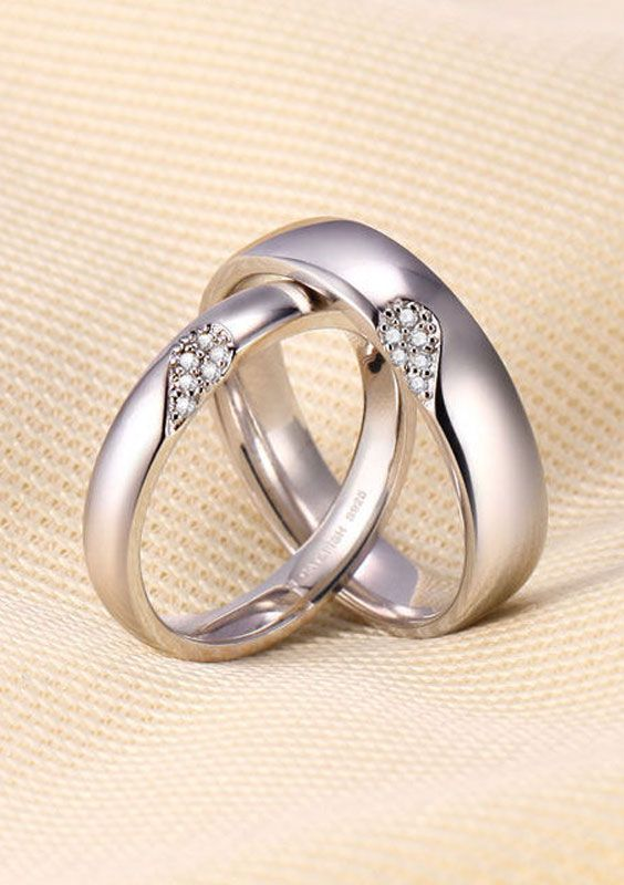Matching Love Heart Promise Rings for Couples Heart wedding rings