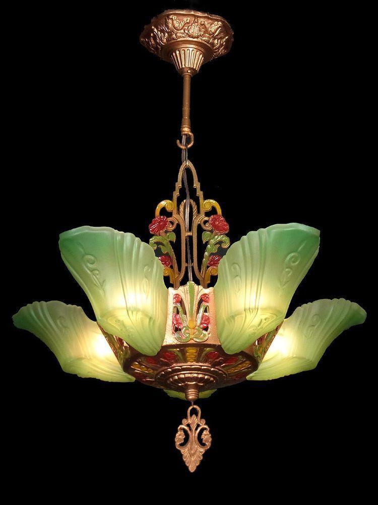 ANTIQUE ART DECO GREEN GLASS, 5 SLIP SHADE CHANDELIER LIGHTS LAMPS FIXTURE  c1930 - ANTIQUE ART DECO GREEN GLASS, 5 SLIP SHADE CHANDELIER LIGHTS LAMPS
