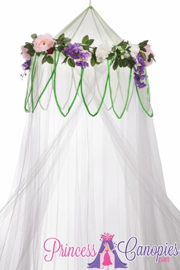 White Bed Canopy Fairytale Princess, Princess Canopy White With Flowers, Mosquito Net Canopy Princesses