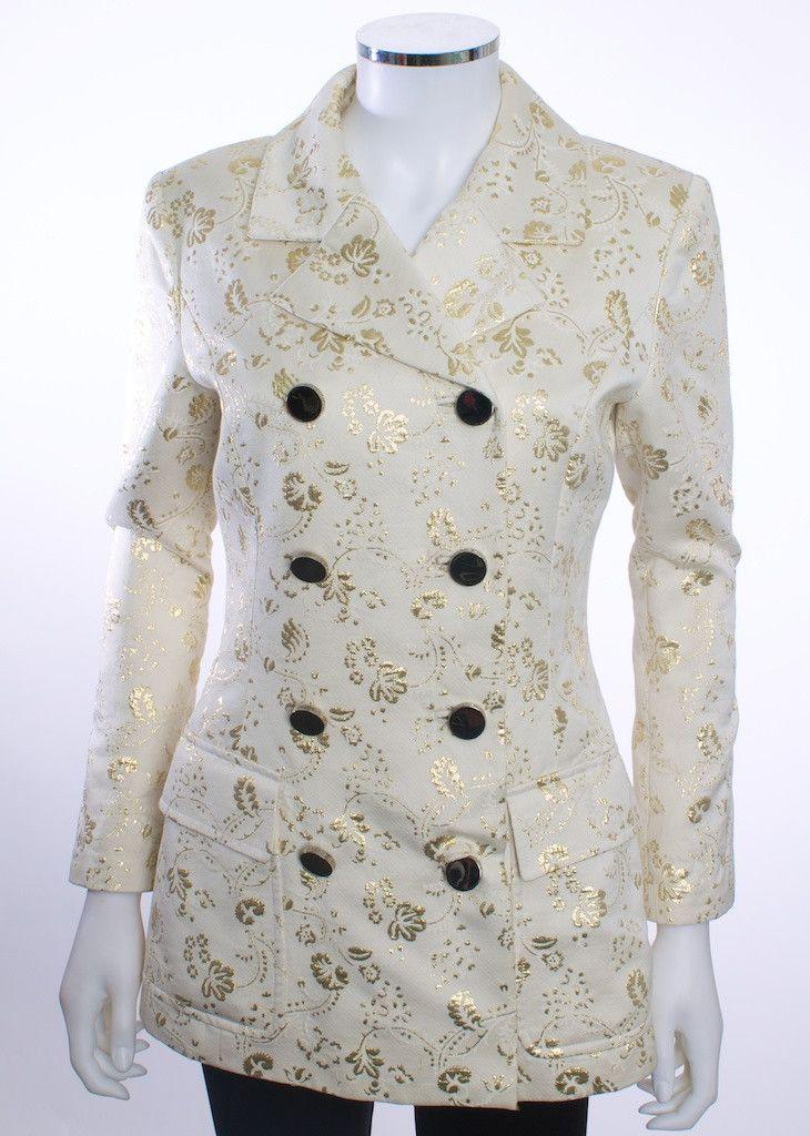 DOLCE & GABBANA DAMASK IVORY LONG SLEEVE VINTAGE JACKET COAT SIZE 38 E – London Couture