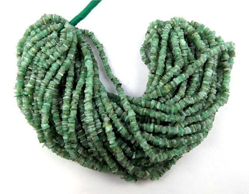 1 Strand Natural Emerald Heishi Smooth Square Drilled Beads Strand Gemstone Bead #Empressbeads #SMOOTH
