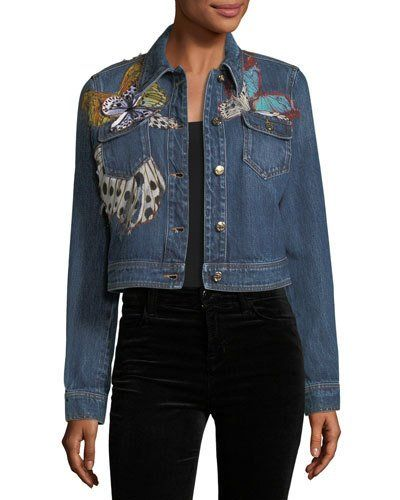 1bd31186dfc Roberto Cavalli Butterfly Applique Cropped Denim Jacket