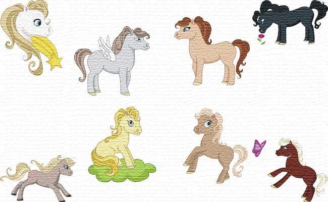 Free Embroidery Designs   Pretty horse Set kostenlose Stickdatei Pferde
