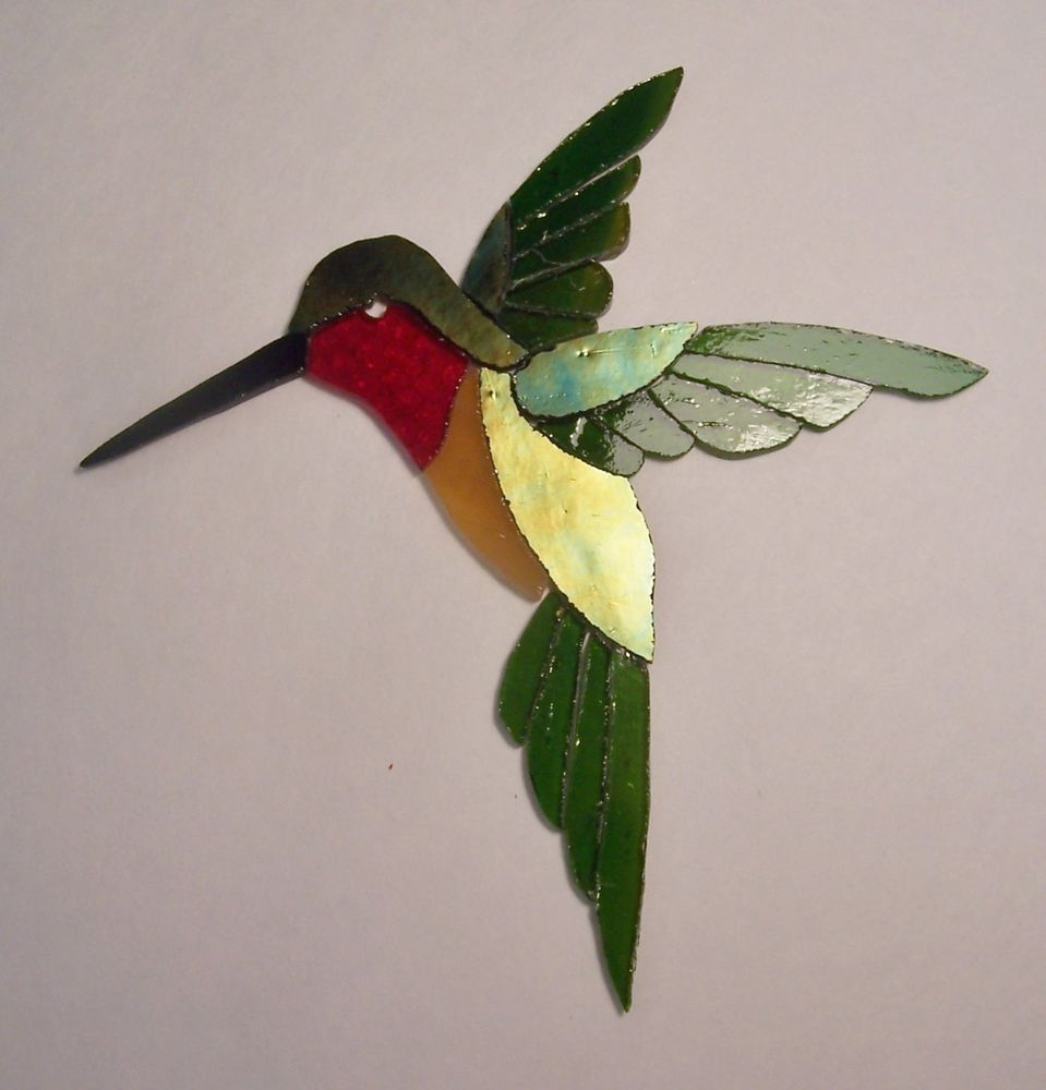 PRECUT STAINED GLASS HUMMINGBIRD MOSAIC INLAY GARDEN STONE