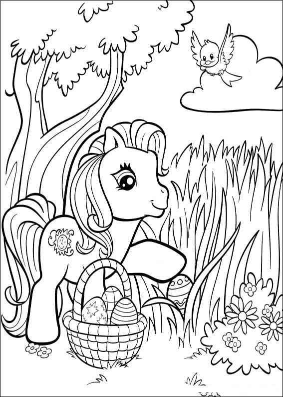 Free Easter Colouring Pages Free printable Pony and Easter