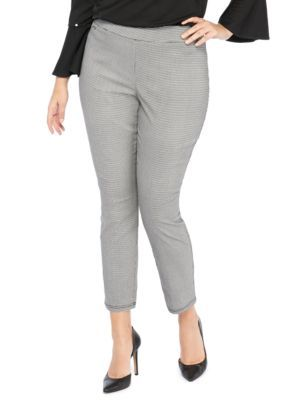 f3c41fc6962 The Limited Women s Plus Size Printed Exact Stretch Skinny Pants -  Houndstooth Blk Ma - 24W