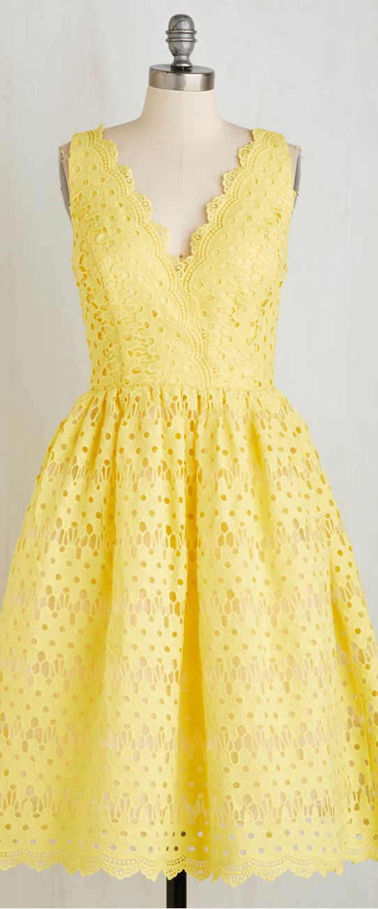 Yellow eyelet lace dress