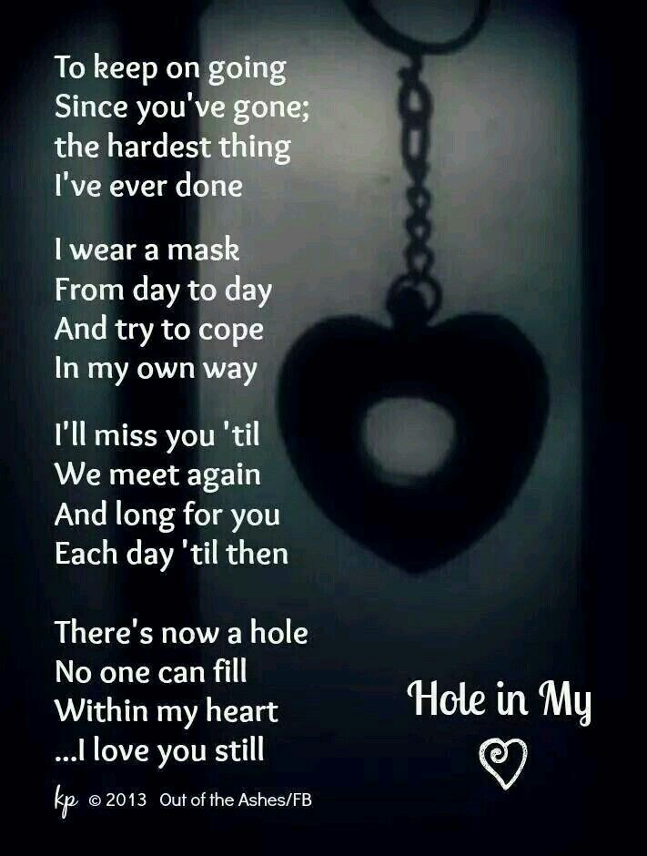 A Hole In My Soul Since You Been Gone I Love And Miss You Always