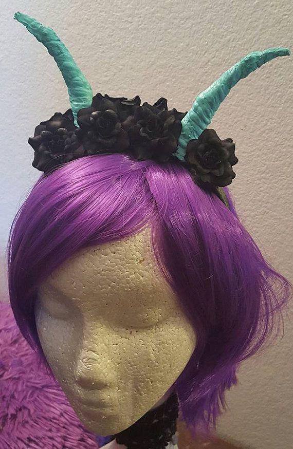 Horns, Flower crown, horn, Devil horns, Demon horns, Floral crown, Halloween, MsFormaldehyde, Ready to ship