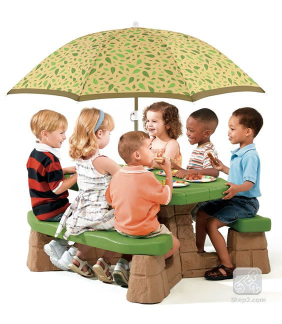 Classic children's picnic table in a pleasant design that blends into natural landscapes. Made in USA of US and imported parts. Umbrella made in China.        Large, easy-to-clean tabletop      Tabletop hole holds included durable, 5-foot diameter (152.4 cm) umbrella      Suitable for outdoor or indoor use      Seats up to six children      Minimal adult assembly      Maximum weight 300 lbs. (136.1 kg) total