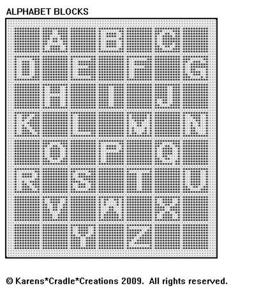 ALPHABET BLOCKS FILET CROCHET Afghan/Doily Pattern | Cobijas de bebe ...