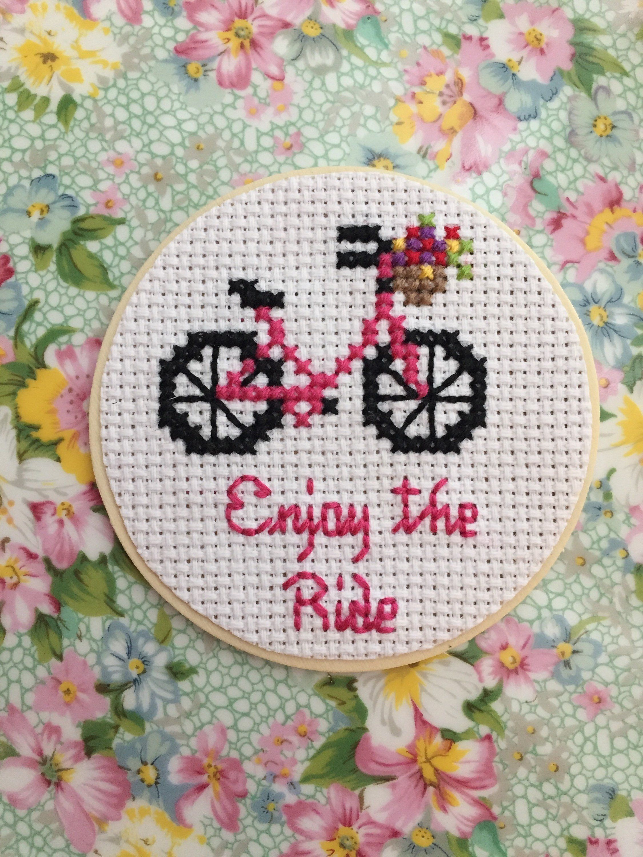 Enjoy The Ride Magnet Pink Bike With Flowers Magnet Wooden Etsy In 2020 Cross Stitch Embroidery Cross Stitch Rose Cross Stitch Cards