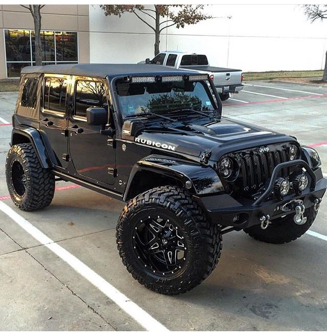Black On Black 4 Inch Lift Rubicon Dream Cars Jeep Jeep Photos Black Jeep Wrangler