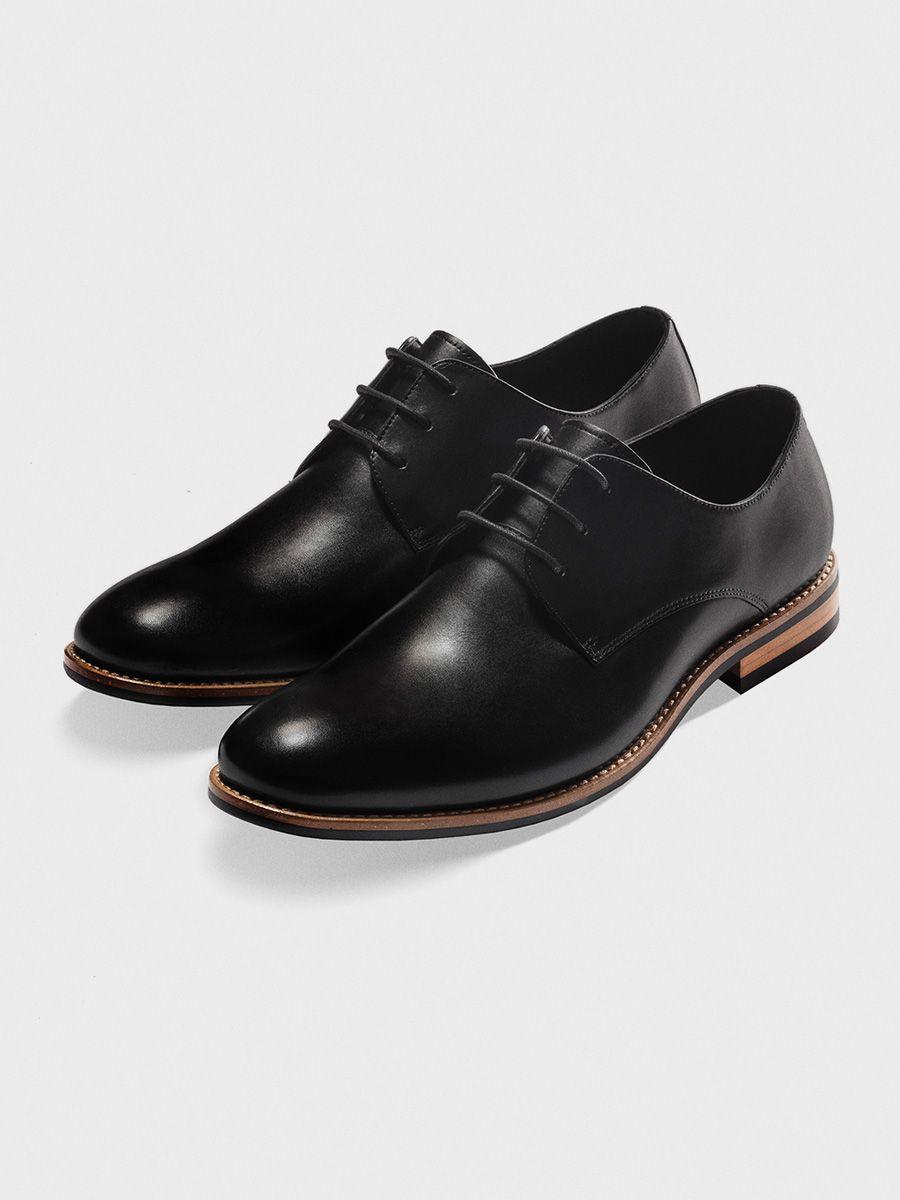 Black Leather Wood Sole Shoes Dress Shoes Men Black Leather [ 1200 x 900 Pixel ]