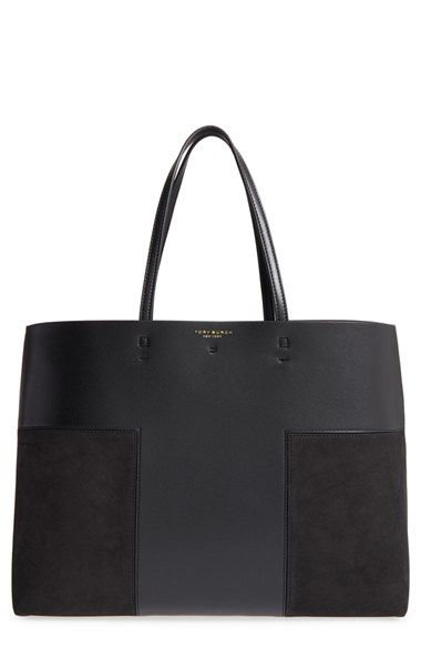 Free shipping and returns on Tory Burch 'Block T' Leather Tote at Nordstrom.com. Raw yet refined, this minimal tote crafted from bonded leather is perfect for both everyday use and weekend travel. A spacious interior easily accommodates your tech and other essentials, while a removable zip pouch is ideal for organizing your keys and smartphone. A polished toggle closure and contrast interior bring modern touches to this ever-versatile style.