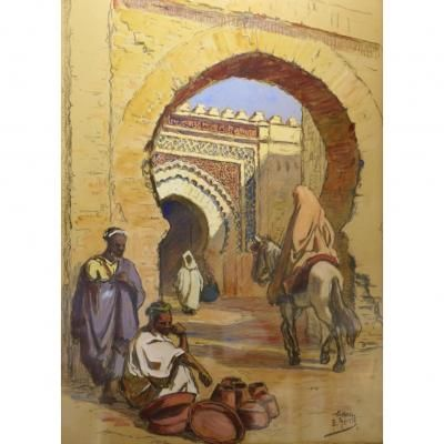 Aquarelle Orientaliste Edouard Herzig 1921 Meknes Tableau