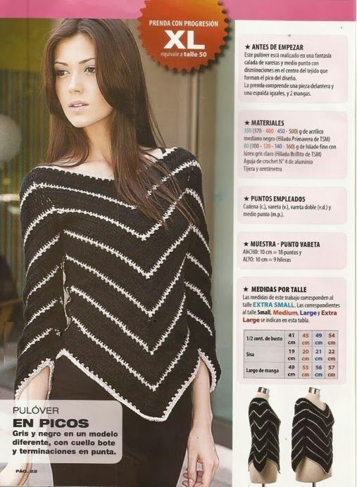 Jersey terminado en pico instrucciones - Patrones Crochet - crochet ...