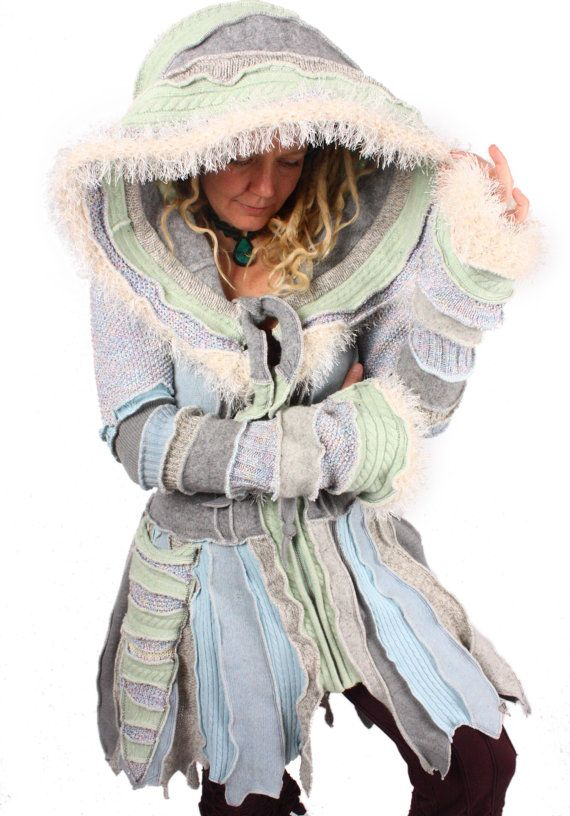 Nights King is an intimidatingly awesome pixie coat trimmed with hand-knit eyelash fuzz. It has an icy iridescent wintry magic about it...