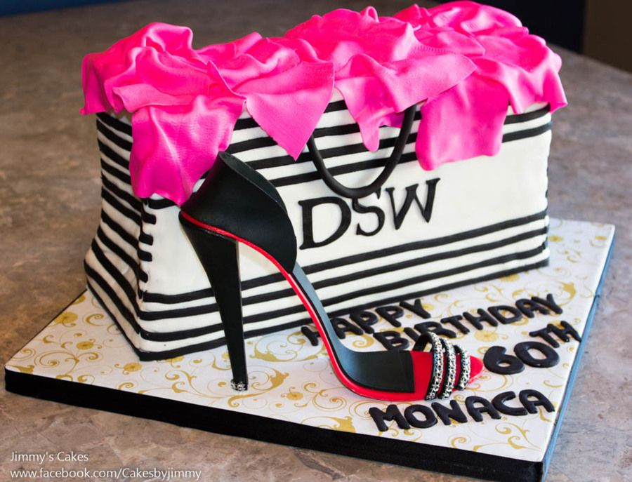 60th Birthday Cakedsw Shopping Bag With Gum Paste High Heel Shoe
