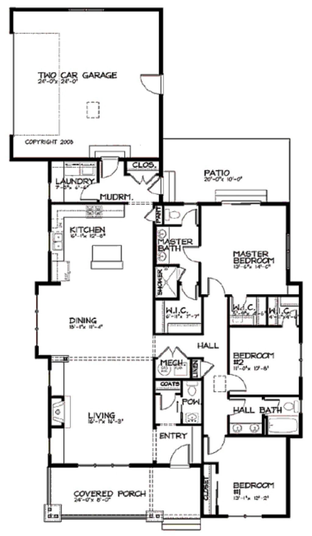 Bungalow Style House Plan 3 Beds 2 5 Baths 1887 Sq Ft Plan 434 6 With Images Narrow Lot House Plans Bungalow Style House Plans Modern Style House Plans
