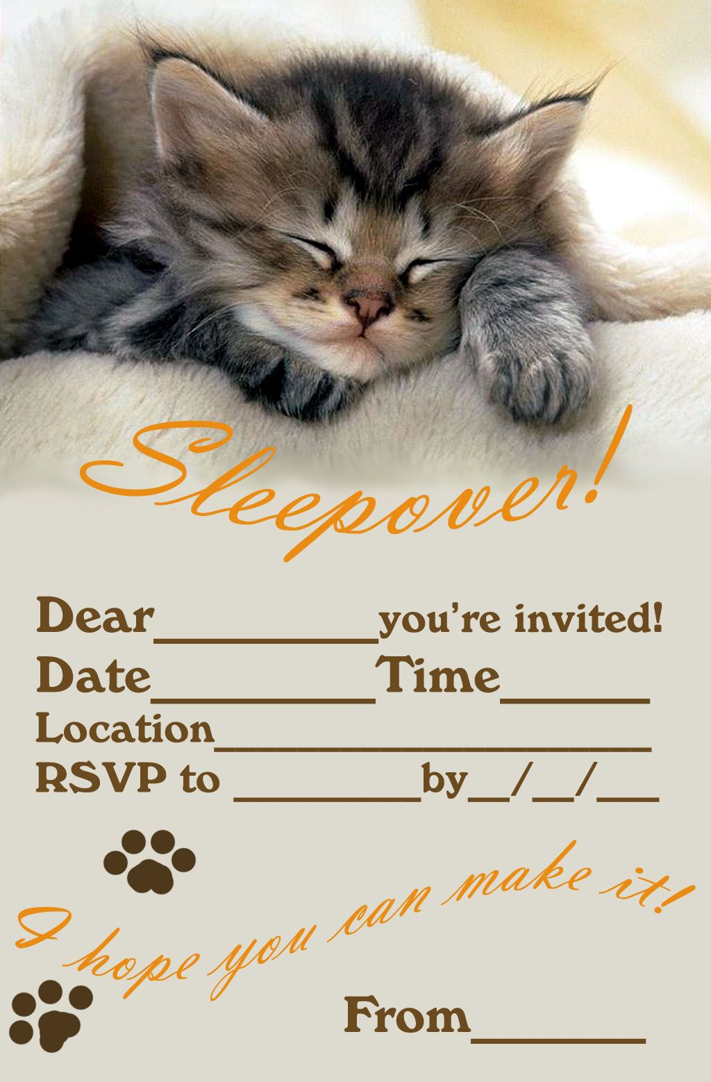 sleepover invitations – Free Printable Slumber Party Invitation Templates