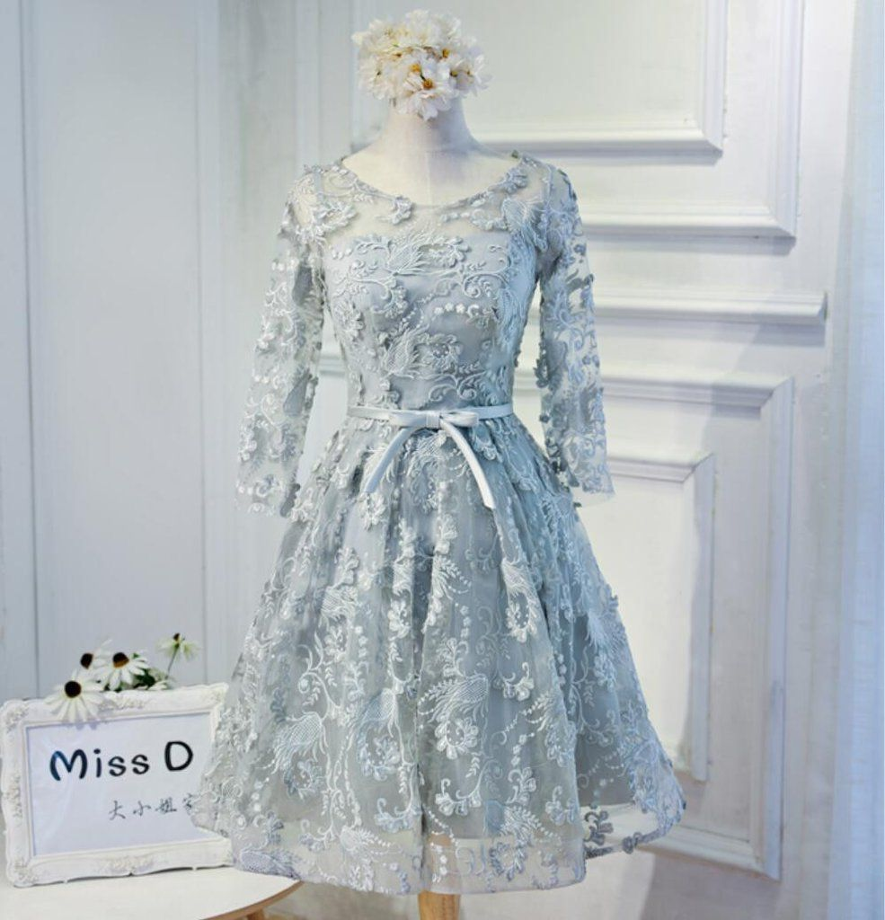 Long Sleeve Grey Lace Modest Homecoming Prom Dresses, Affordable ...