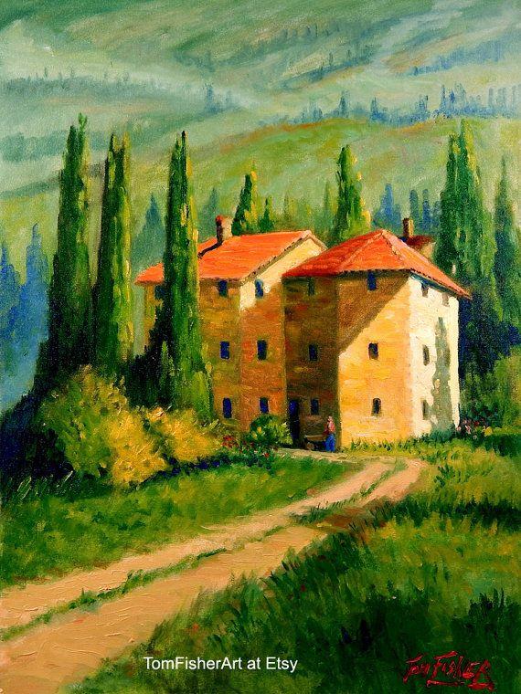Original Tuscan Home Landscape Oil Painting Impressionist Tuscan Landscape Art Yellow Green Oil Painting Landscape Landscape Paintings Landscape Art